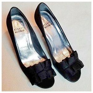 Stuart Weitzman black ruffle bow heels